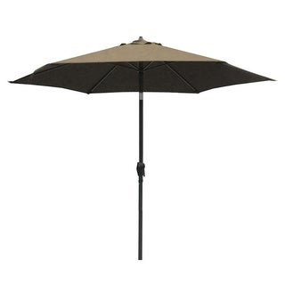 Lauren & Company 9-foot Taupe Steel Crank and Tilt Market Umbrella