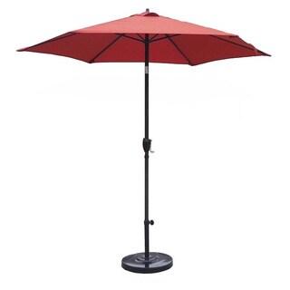 Lauren & Company 9-foot Brick Red Steel Crank and Tilt Market Umbrella with Stand