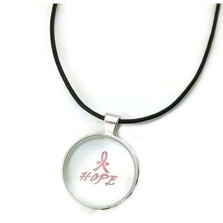 Mama Designs Inspiring Pendant 'Hope' Breast Cancer Awareness Ribbon in A Sterling Silver or Leather Necklace