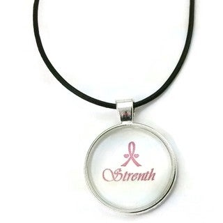 Mama Designs Inspiring Pendant 'Strength' Breast Cancer Awareness Ribbon in A Sterling Silver or Leather Necklace