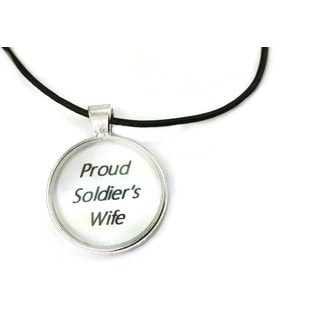 Mama Designs Inspiring 'Proud Soldier'S Wife' Dome Necklace in Sterling Silver and Leather