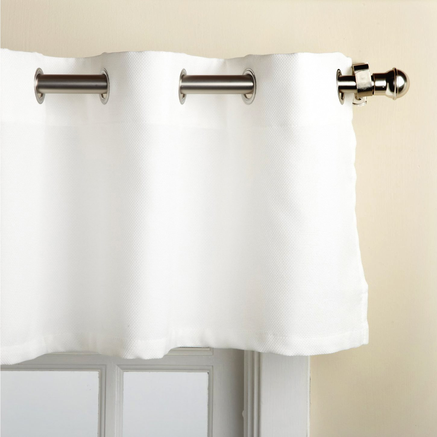 Modern Subtle Texture Solid White Kitchen Curtain Parts With Grommets Tier And Valance Options Overstock 10224892 Tier Pair 58 X 36
