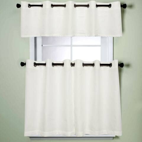 Modern Subtle Texture Solid White Kitchen Curtain Parts With Grommets- Tier and Valance Options