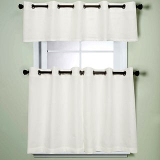 Modern Subtle Texture Solid White Kitchen Curtain Parts With Grommets- Tier and Valance Options (3 options available)