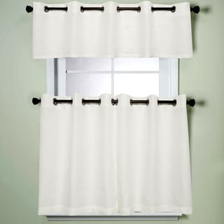 Modern Sublte Textured Solid White Kitchen Tiered Valance Curtains With  Grommets