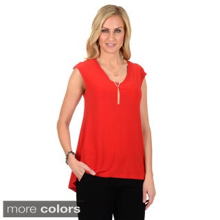 Timeless Comfort by Journee Women's Hi-lo Lace Back V-neck Top