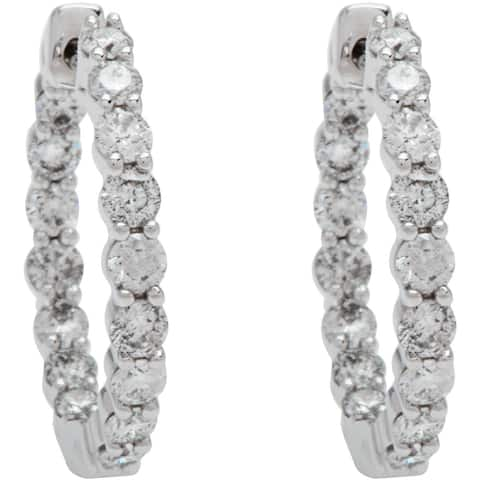 Boston Bay Diamonds 14k White Gold 1 1/2ct Diamond Inside-Out Hoop Earrings (I, I1)