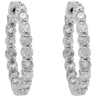 Boston Bay Diamonds 14k White Gold 1 1/2ct Diamond Inside-Out Hoop Earrings (I, I1) - N/A