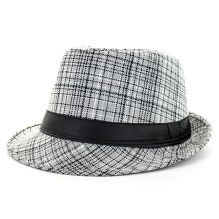 Faddism Men's Grey Plaid Fashion Fedora Hat