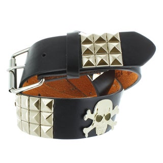 Faddism Men's Genuine Leather Pyramid Studded/ Skull Decor Belt