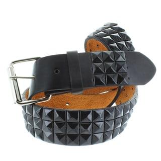 Faddism Men's Genuine Leather Black Pyramid Studded Belt
