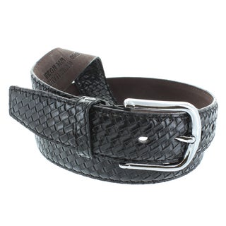 Faddism Men's Genuine Leather Weaving Pattern Belt