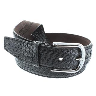 Faddism Men's Genuine Leather Weaving Pattern Belt