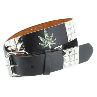 Faddism Men's Genuine Leather Pyramid Studded/ Leaf Symbol Belt