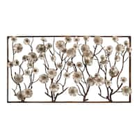72-inch Contemporary Abstract Flower And Branches Montage Wall Sculpture