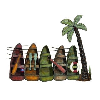 30-inch Coastal Inspired Brown/Green Iron Upright Canoes And Palm Tree Wall Sculpture