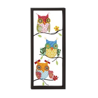 Brightly Colored Iron Owls on Branches Wall Sculpture