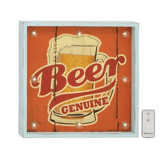 18-inch Square Nostalgia Inspired Mid-century Style Red Wooden Led Wall Plaque