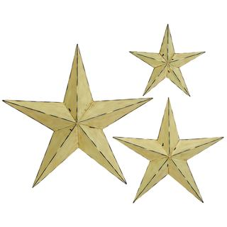 Farmhouse Inspired Distressed Ivory Iron 3D Barnstar Wall Sculptures (Set of 3) - Thumbnail 0