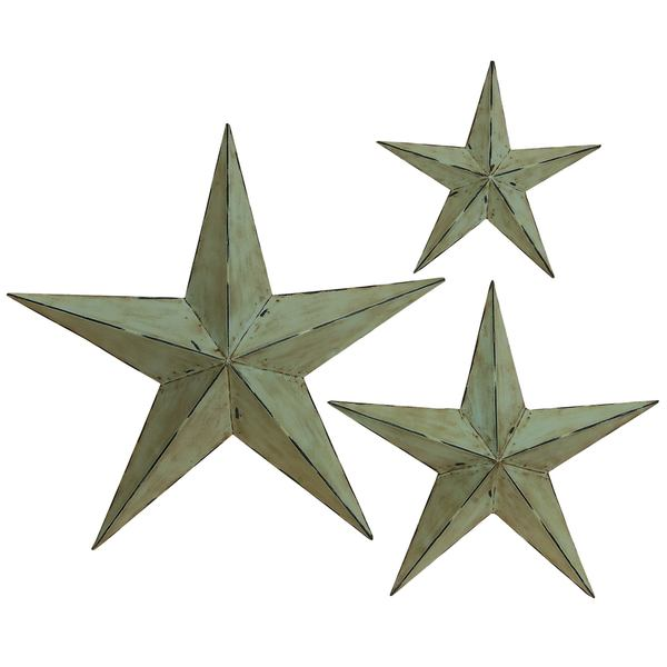 Farmhouse Inspired Distressed Taupe Iron 3D Barnstar Wall Sculptures (Set of 3)