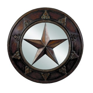 32-inch Traditional Bronze Iron Pentagram Wall Mirror