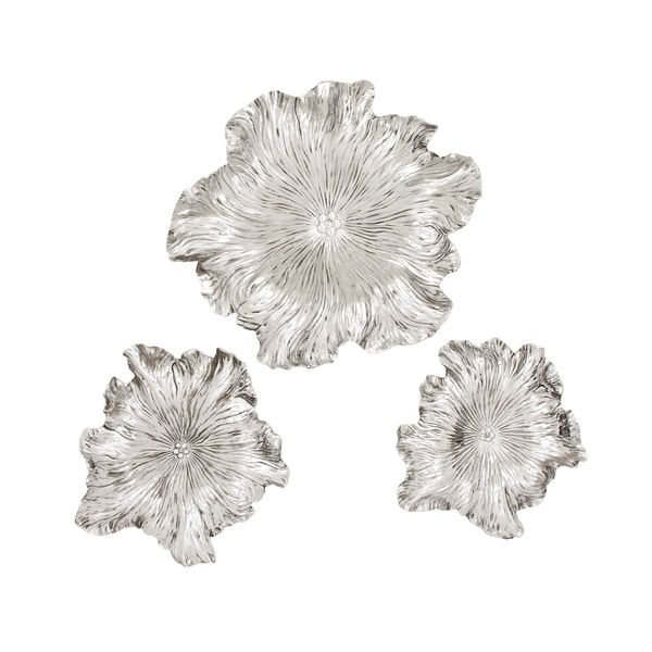 Traditional Silver 3D Floral Wall Art (Set Of 3)