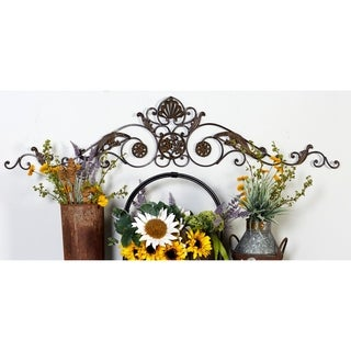 Bronze Finish Iron Metal Scrollwork Wall Sculpture