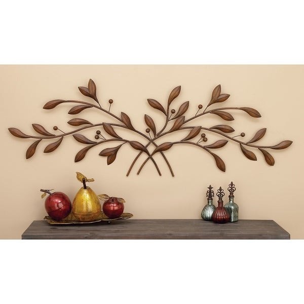 Traditional 20 x 60 Inch Brown Leaves Wall Sculpture by Studio 350. Opens flyout.