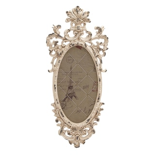 41-inch French Country Distressed Whitewash Wood Oval Frame Memo Wall Board