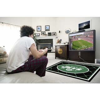 Fanmats New York Jets Black Nylon Area Rug (4' x 6')