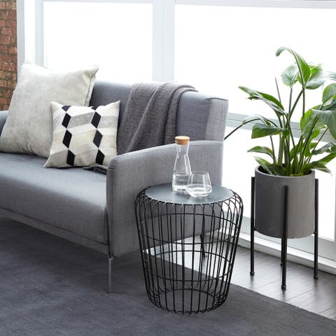 Round Black Wire Side Table