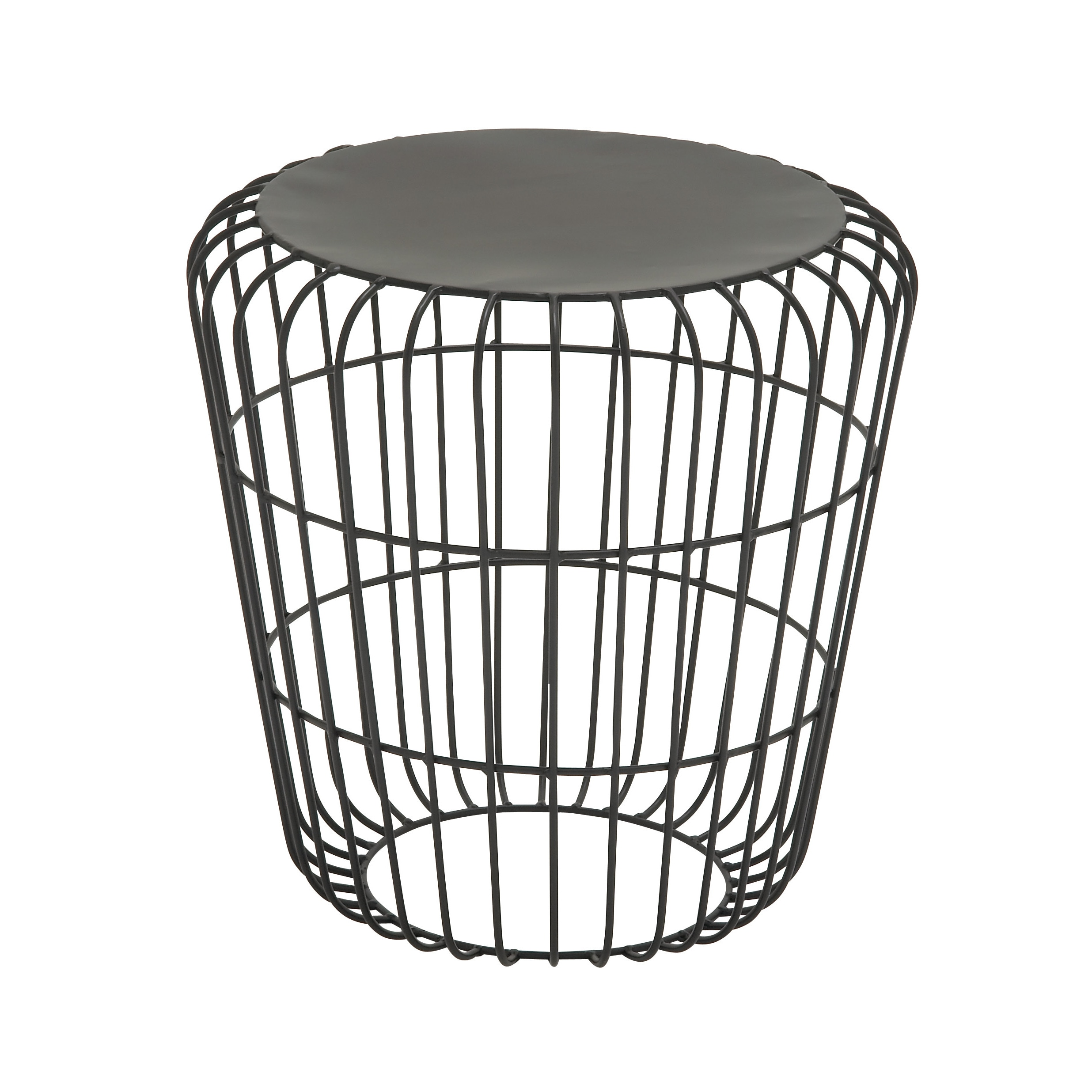 Modern End Side Table Heavy Duty Iron Wire Base Round Tabletop Black Finish