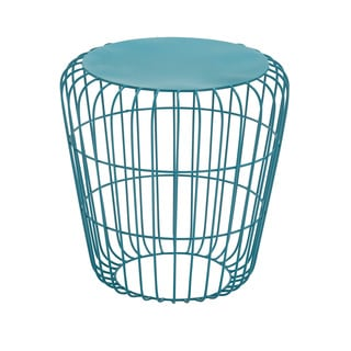 Round Wire Teal Side Table