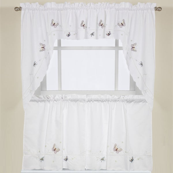 Incroyable Fluttering Butterfly White Embroidered Tier, Swag, Or Valance Kitchen  Curtains