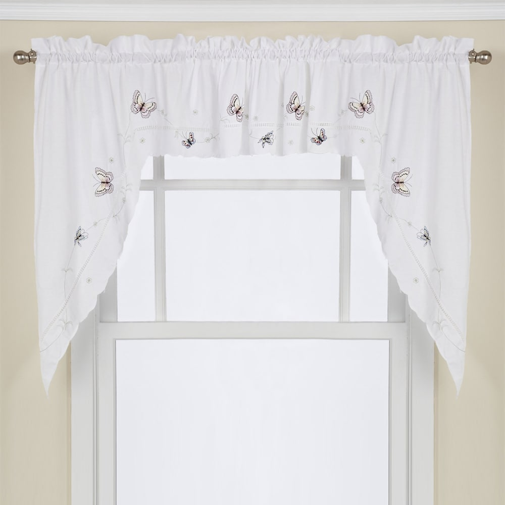 Shop Fluttering Butterfly White Embroidered Tier, Swag, or Valance Kitchen Curtains - 10225808