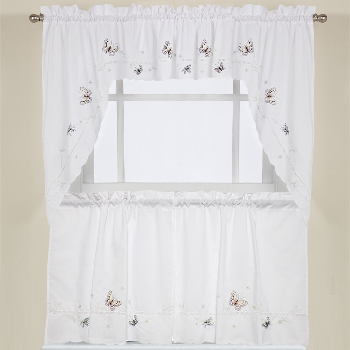 Embroidered Fluttering Butterfly Kitchen Curtains- Tiers,...