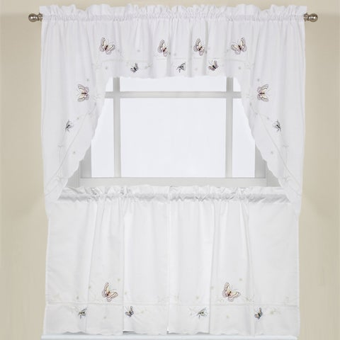 Fluttering Butterfly White Embroidered Tier, Swag, or Valance Kitchen Curtains