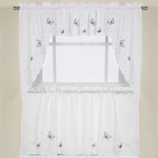 Embroidered Fluttering Butterfly Kitchen Curtains- Tiers, Swag pairs and Valance|https://ak1.ostkcdn.com/images/products/10225808/P17346818.jpg?impolicy=medium