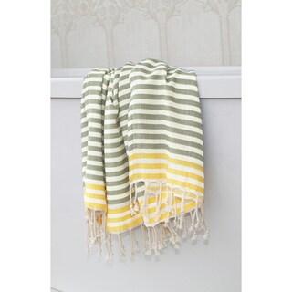 Authentic Pestemal Fouta Stripe Monogrammed Turkish Cotton Bath/ Beach Towel