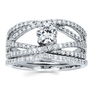 Boston Bay Diamonds 14k White Gold 7/8ct TDW Diamond Bridal Set (G-H, SI1-SI2)