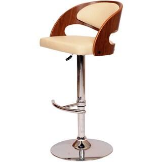 Malibu Swivel Barstool In Cream PU/ Walnut Veneer and Chrome Base