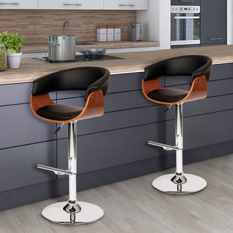 Paris Swivel Barstool In Black PU/ Walnut Veneer and Chrome Base