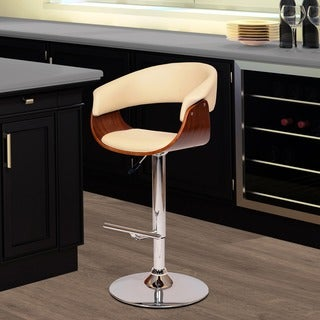 Paris Cream PU/ Walnut Veneer Swivel Barstool with Chrome Base