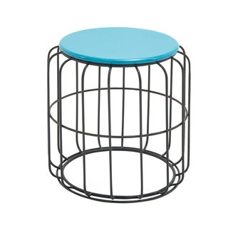Round Wire Side Table Blue Top