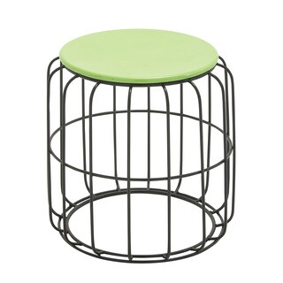 Round Wire Green Top Side Table