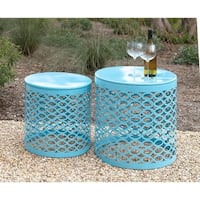 Set of 2 Modern 17 and 20 Inch Turquoise Iron Side Table by Studio 350