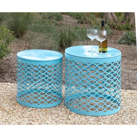 Teal Metal Side Tables (Set of 2)