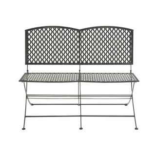 Great Outdoors Black All-weather Tin Folding Double Seat Bench