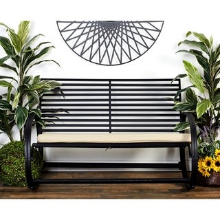Great Outdoors Black All-weather Tin and Fabric Rocking Bench