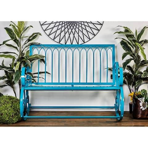 Modern 37 x 49 Inch Turquoise Metal Rocking Bench by Studio 350